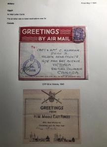 1943 Middle East Forces In Egypt Censored Air letter Cover To Victoria Canada