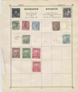 Barbados Stamps on Album Page ref  R 18845