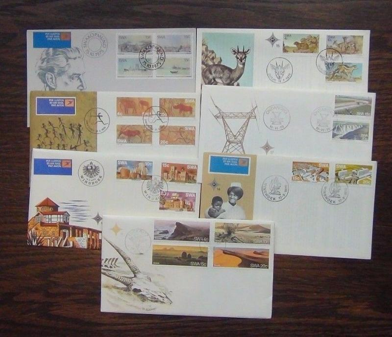 South West Africa 7 First Day Cover 1975 1977 Paintings Desert Buildings Castles