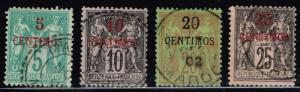 French Morocco SC# 1, 3, 4, and 5 Used - Lot 7515