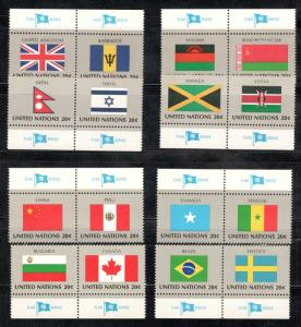 UN 399-414 Complete Flag Set Of 16 W/Tabs Mint/nh (Free Shipping)