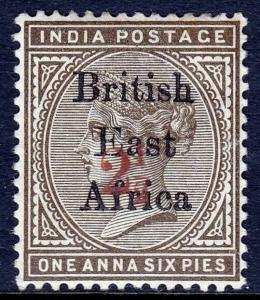 BR. EAST AFRICA — SCOTT 59 (SG 64) — 1895 2½ ON 1½a SURCH. — MH — SCV $115.00