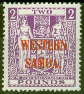 Western Samoa 1942 £2 Brt Purple SG194c Wiggins Teape V.F Very Lightly Mtd Mint