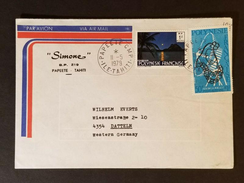 1979 Papeete Tahiti to Datteln Western Germany Simone Advertising Air Mail Cover