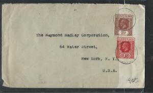 LEEWARD ISLANDS  (P1104B) 1936  KGV 1 1/2D+1D ST KITTS TO USA