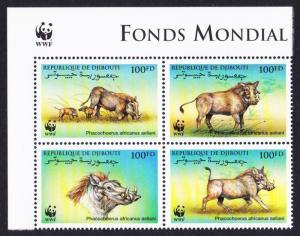 Djibouti WWF Eritrean Warthog 4v Upper Left block 2*2 with WWF Logo SG#1192-1195
