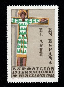 REKLAMEMARKE POSTER STAMP BARCELONA SPAIN 1929 INTERNATIONAL ART EXPO (THIN)