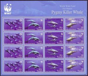 Tuvalu WWF Pygmy Killer Whale Sheetlet of 4 sets SG#1224-1227 MI#1307-1310
