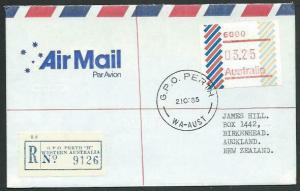 AUSTRALIA 1985 $3.25 Frama on registered airmail cover to New Zealand......60350