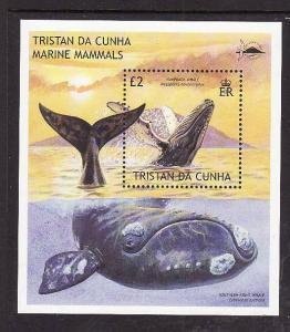 Tristan da Cunha-Sc#719-Unused NH sheet-Marine Mammals-Humpback Whale-2002-