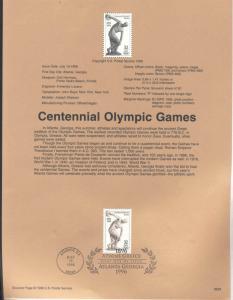 USA 3087 CENTENNIAL OLYMPIC GAMES SOUVENIR PAGE