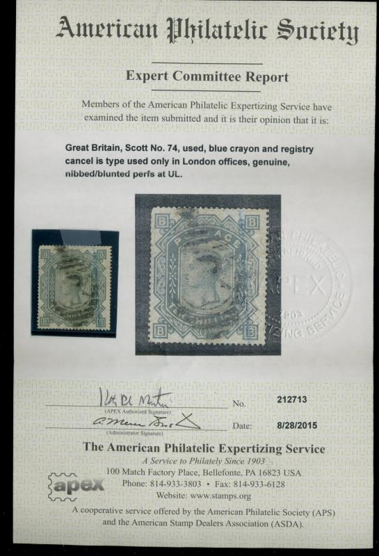 Great Britain #74 Used APS Cert F-VF Cpl nibbed perfs Cat$2900