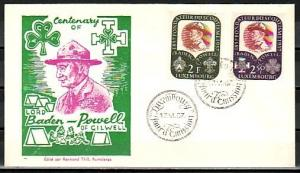 Luxembourg, Scott cat. 324-325. Scouting Anniversary issue. First day cover.