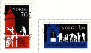 Norway Sc 576-7 1971 Oslo Bishopric stamps used
