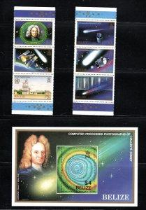 Belize StripOf3Halley'sComet w/SpaceSightings&SS OfHalley'sComet MNH 1986