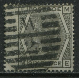 1872 6d gray Plate 13 lettered ME used with London numeral W2