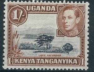 j160) Kenya,Uganda & Tanganyika. 1938/54. MM. SG 145 1/-. Royalty. Trees. c£30+