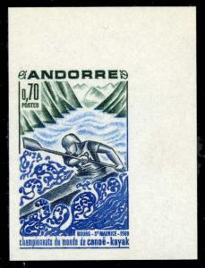 FRENCH ANDORRA 1969 70c KAYAK IMPERF NH #190 var. CVYvert #196a @ €65.00 ($...