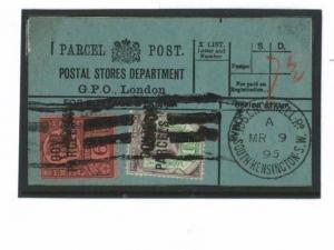GB QV OFFICIAL *Govt Parcels* Overprint Parcel Post Label {samwells-covers}O187