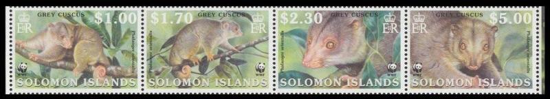 Solomon Is. WWF Grey Cuscus Strip of 4v SG#1003-1006 SC#927-930 MI#1062-1065