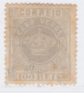 Cape Verde 1877 100r Light Lilac Perf. 13 1/2 Used Stamp A20P2F852