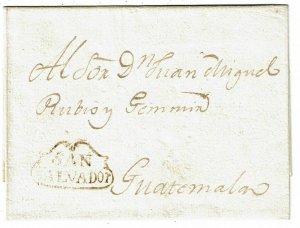 Salvador 1800's San Salvador fancy cancel on cover to Guatemala