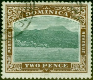 Dominica 1906 2d Green & Brown SG29a Chalk Fine Used
