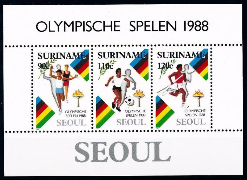 [63221] Suriname 1988 Olympic Games Seoul - Football  Athletics Sheet MNH