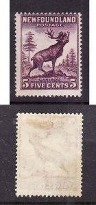 Newfoundland-Sc #191- id 7-unused,og,hinged-5c deep violet-Caribou-1932-7-vertic
