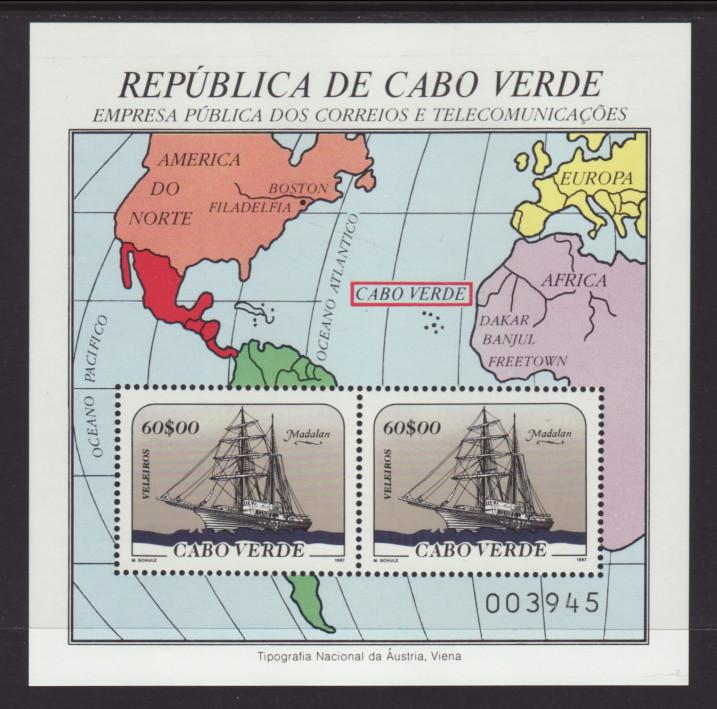 Cape Verde 517 Sailing Ship Map Souvenir Sheet MNH VF