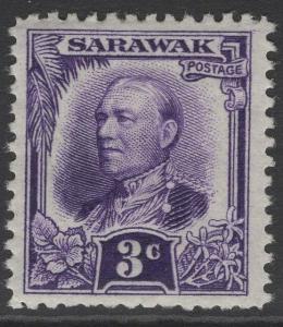 SARAWAK SG93 1932 3c VIOLET MTD MINT