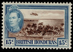 BRITISH HONDURAS GVI SG156, 15c brown & light blue, M MINT.