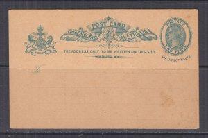 QUEENSLAND, Postal Card, 1889 2d.Blue, Via Direct Route, unused.