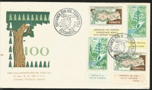 J) 1957 TURKEY, TREE, HANDS, MULTIPLE STAMPS, FDC
