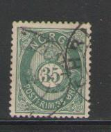 Norway Sc 29 1878 35 ore lt grn post horn stamp used