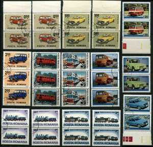 ROMANA Romania Cars Trains Transportation Topical Postage Stamps Collection