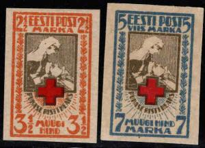 Estonia Scott B5-B6 MH* 1921 Red Cross Nurse Imperforate set