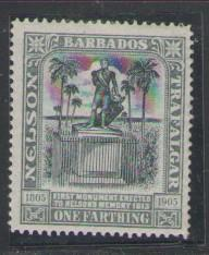 Barbados Sc 102 1906 1f Nelson stamp mint