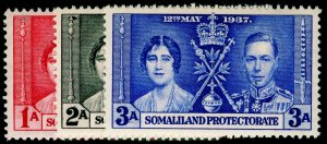 SOMALILAND PROTECTORATE SG90-92, COMPLETE SET, NH MINT. CORONATION.