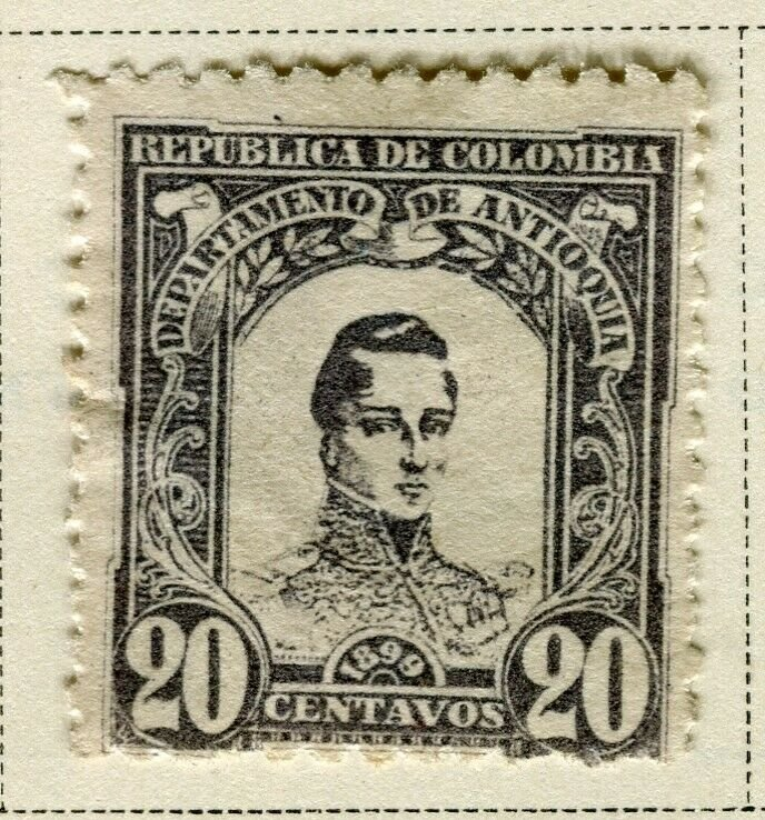COLOMBIA ANTIOQUIA; 1899 early Bolivar issue Mint hinged 20c. value