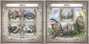 Z08 IMPERF MLD17609ab MALDIVES 2017 Owls MNH ** Postfrisch Set