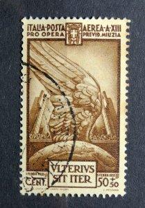 ITALY 1935 SC# CB3 SEMI-POSTAL AIRMAIL - WTMK 140 - USED HINGED - VF