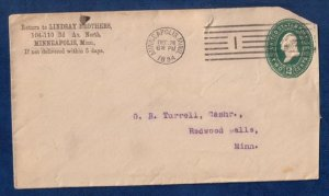 US Sc U312 Postal History Cover Stamped Envolope Cancel Minneapolis,Minn.(1894):