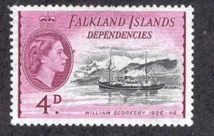 FALKLAND ISLANDS 1L25 MINT HINGED QE2 WILLIAM SCORESBY SHIP DEPENDENCIES