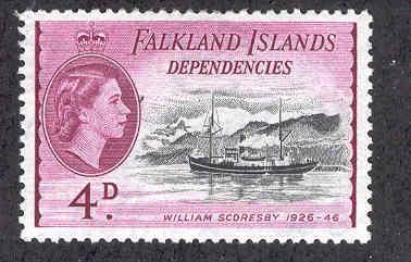 FALKLAND ISLANDS 1L25 MINT HINGED QE2 WILLIAM SCORESBY SHIP DEPENDENCIES