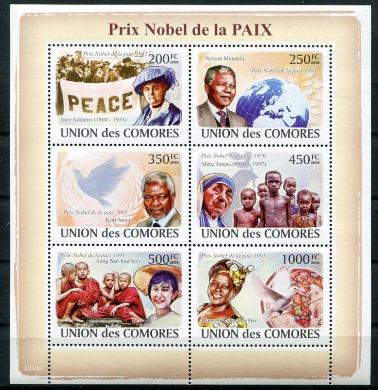 COMORO ISLANDS NOBEL PEACE PRIZE WINNERS - NELSON MANDELA - MOTHER TERESA, ETC!