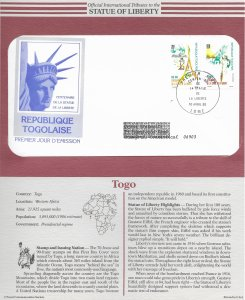 Statue of Liberty Togo #C548-549. 1986  FDC with write up.