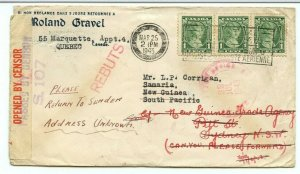 DLO DEAD > Samaria, NEW GUINEA, South Pacific, Blackout 1943 Censor Canada cover