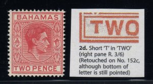 Bahamas, SG 152bba, MLH Short T in Two variety