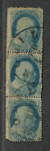 Us Sc#24 Type Va Used, Strip Of 3 Pos 19-29-39L5, Crowe Cert, Cv. $900+